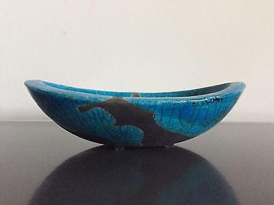 Formschöne Raku Keramik Schale Schwarz Blau Craquele Glasur fat lava pottery