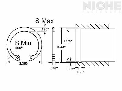 Housing Retaining Ring Internal 2-1/8 Spring Steel ZY (25 Pieces)