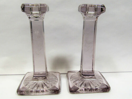 Vintage Lavender Tint Lead Glass Pillar Candlestick Holders Etched Art Deco