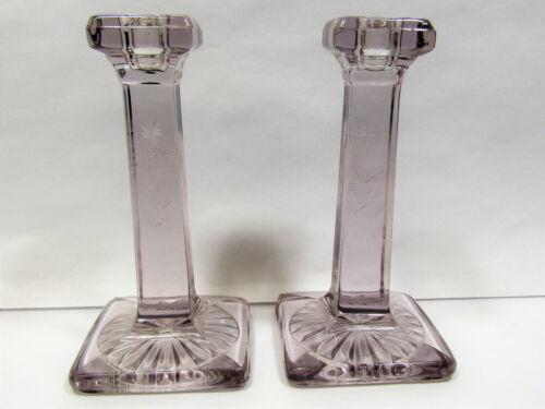 Vintage Lavender Tint Lead Glass Pillar Candlestick Holders Etched Art Deco