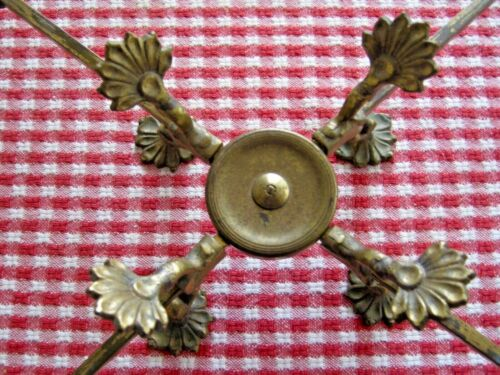 Antique 1800s adjustable brass trivet serving stand, remnants of original finish