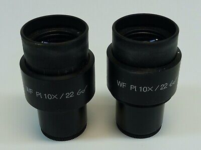 Pair Of Zeiss Wf Pl 10x22 Microscope Eyepiece Excellent Condition