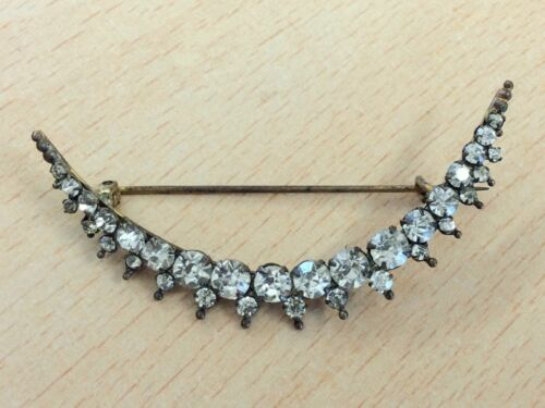 ANTIQUE PASTE STONE CRESCENT MOON COSTUME BROOCH PIN 1880