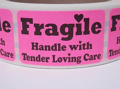Fragile Handle With Tender Loving Care 1.25x2 Stickers Labels Fluor Pink 250rl