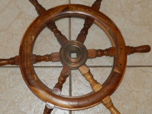 """24"""" Wood Wooden Ship Wheel Large Boat Captain Steering Helm Nautical Wall Decor"""