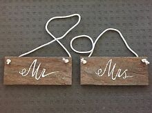 Mr & Mrs wedding chair signs - recycled rustic timber Seaforth Manly Area Preview