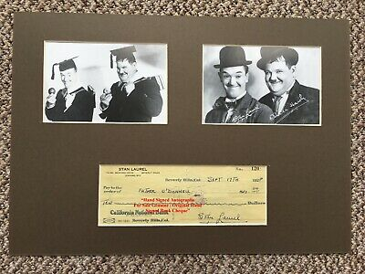 STAN LAUREL  HAND SIGNED CHEQUE DATED 1928  DISPLAY MOUNTED VERY RARE