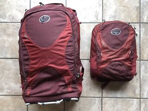 Osprey- Convertable rolling backpack w/matching day pack