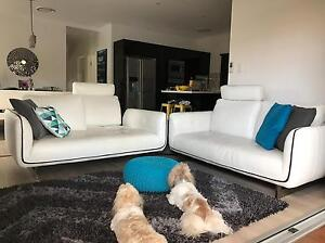 White Leather Lounge Suite (Dylan) Tennyson Brisbane South West Preview