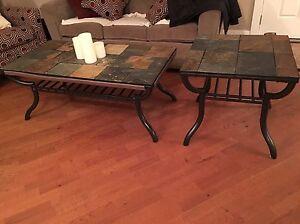 Slate coffee and side table