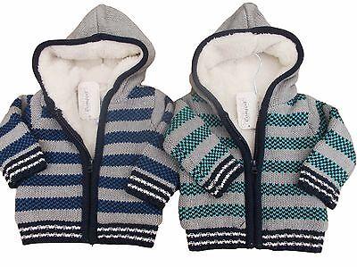 Neu mit Etikett Baby Jungen Grün oder Grau Gestreift Pelzfutter Kapuzen Jacke ()