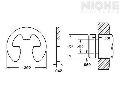 E-Clip External Retaining Ring Clip 1/2 CS PH (500 Pieces)