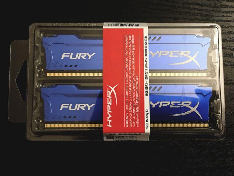 Kingston 2-Pack 8GB PC3-12800 DDR3 DIMM Unbuffered Non-ECC Desktop Memory Kit Blue HX316C10FK2/16
