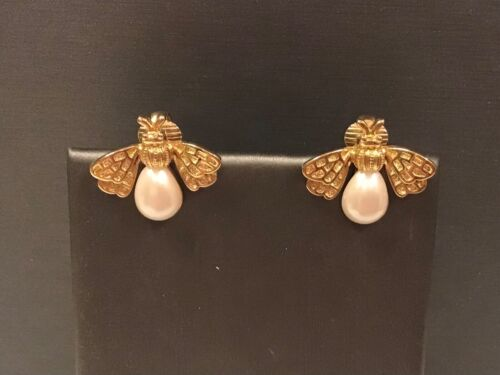 Gold Plated Bee Insect Bug Pearl Spring Clip Style Earrings Jewelry