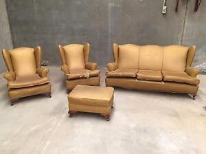 Wingback lounge suite gold - needs recovering Narre Warren Casey Area Preview