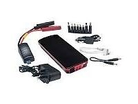Multi function vehicle jump starter , power pack. Starts cars with dead batteries, charges devices