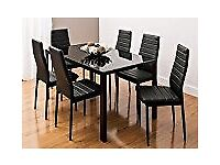 Stunning Black Glass Dining Room Table and Six Chairs, Brand New in Box