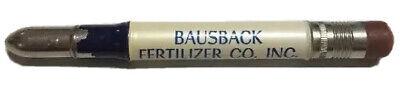 Vtg Bausback Fertilizer Bullet Pencil Farming Agriculture Shelbyville Indiana Ag