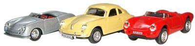 Cararama PN002 - 3 car Set, Porsche 1, 356B, 550A 1/72 Echelle T48