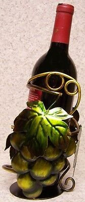 Wine Bottle Holder All Metal Whimsical Sculpture Green Grapes with Leaves NEW Grapes Wine Holder