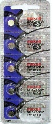 5 Maxell 377 (SR626SW) Silver Oxide Batteries 1.55 Volt Made In Japan