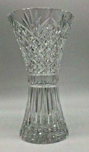 "Kinsale Crystal  10"" Tulip Vase Beautiful Deep Cuts Trumpet Top"