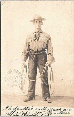 RPPC Studio Pose Man in Cowboy Western Costume Sandringham Ontario 1906