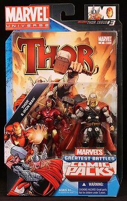 2010 HASBRO MARVEL UNIVERSE COMIC 2-PACK IRON MAN VS THOR 3 3/4