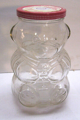 "Kraft Teddy Bear 6"" Glass Jelly Jam Jar, w/Original Red Metal Lid"