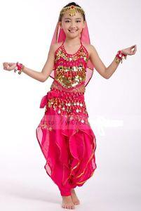 costume danse orientale enfant fille 3 9 ans haut pantalon ensemble du ventre. Black Bedroom Furniture Sets. Home Design Ideas