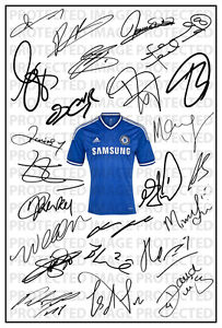 Chelsea Signed Squad Team Autograph Photo Print Frank Lampard 2013/2014 Willian