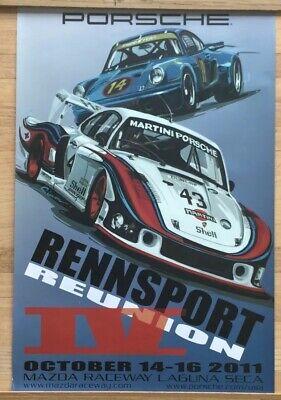"Original Porsche Vintage Racing Poster 36 x24"" Rennsport 2011 Laguna Seca"