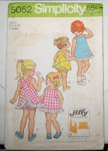 Vintage Simplicity Toddler Sun Suit Play Top Bloomers SEWING PATTERN #5052