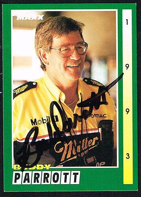 Buddy Parrott #155 signed autograph auto 1993 MAXX Nascar Trading Card