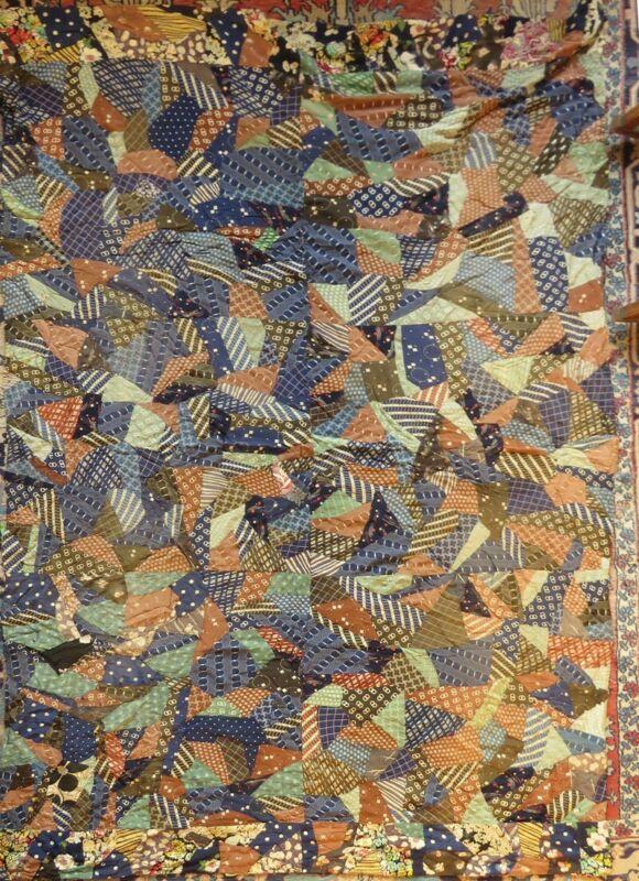 Heavyweight Hand Sewn VINTAGE CRAZY QUILT Wild Fabrics