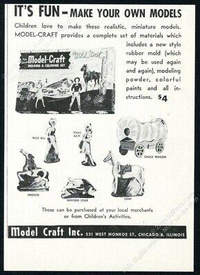 1948 Model Craft Wild West model set illustrated vintage print ad