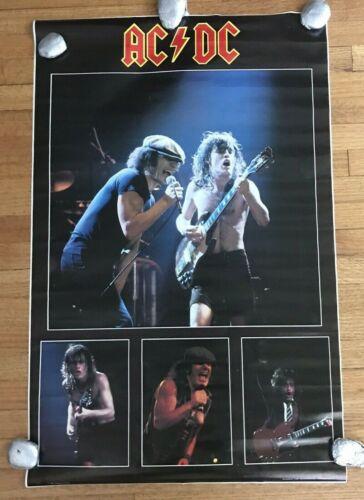 "AC/DC Live Collage Poster 1983 ORIGINAL Vintage 22"" X 34.5"""