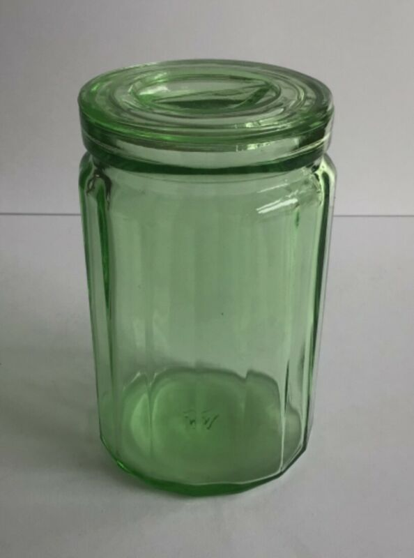 Vintage Hazel-Atlas Green Glass Canister Vaseline Uranium Panel Depression Era