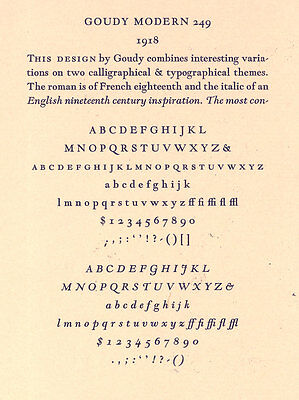 New Letterpress Type- 12pt. Goudy Modern Italic Complete Font