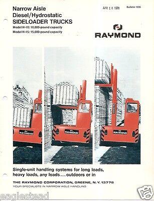 Fork Lift Truck Brochure - Raymond - H-10 H-15 - Diesel Side Loader 1969 Lt237