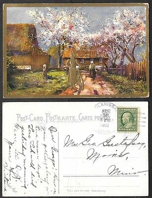 1909 Postcard - Gold Embossed Bicycle and Pretty Lady