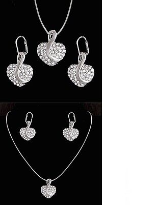 Women's 925 Sterling Silver Crystal Heart Necklace And Earring Jewellery Set