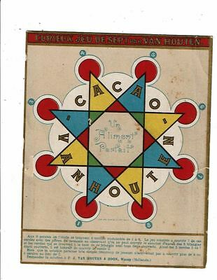 carton publicitaire JEU CACAO VAN HOUTEN Curieux jeu de sept - étoile