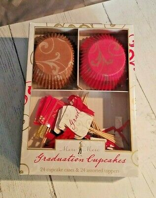 Meri Meri Graduation Cupcake Kit 24 Cupcake Paper Liners and Decorative Toppers