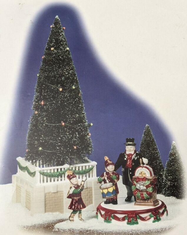 DEPT 56 SNOW VILLAGE Tree Lighting Celebration CHRISTMAS TREE  #55104  SET OF 3