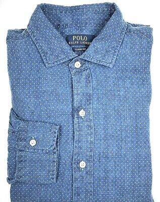 Polo Ralph Lauren Blue Washed Indigo Chambray Long Sleeve Shirt Men S M L XL