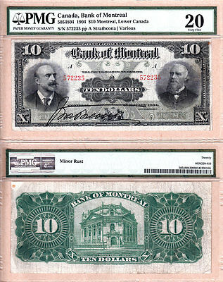 Scarce 1904  10 Bank Of Montreal Issued Note Pmg Vf20  505 48 04