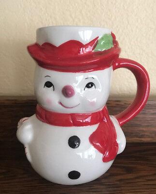 NEW Pottery Barn Snowman Winter Figural Christmas Coffee Hot Chocolate Mug NIB