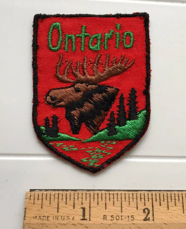 Ontario Canada Canadian Moose Head Souvenir Embroidered Red Black Patch Badge
