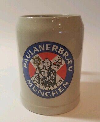 Vintage Paulanerbraeu Salvator Munchen .5 Liter Clay Beer Mug Stein German 5